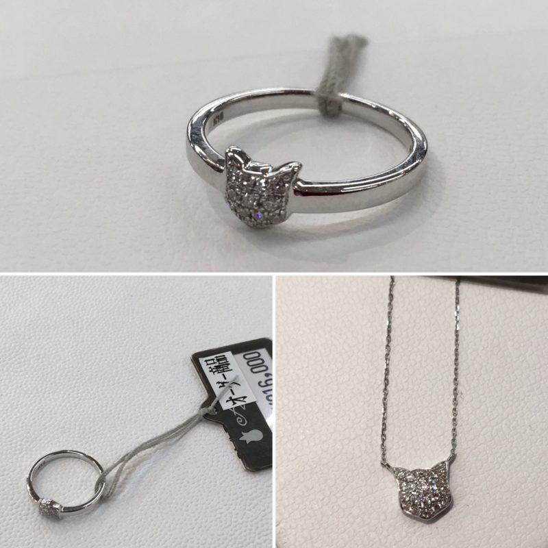 猫の指輪とネックレス