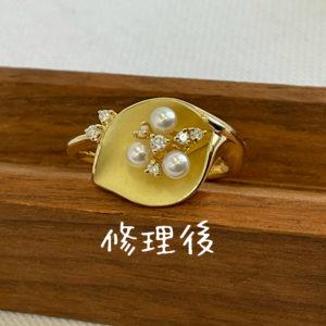真珠のデザインリングの修理事例です。